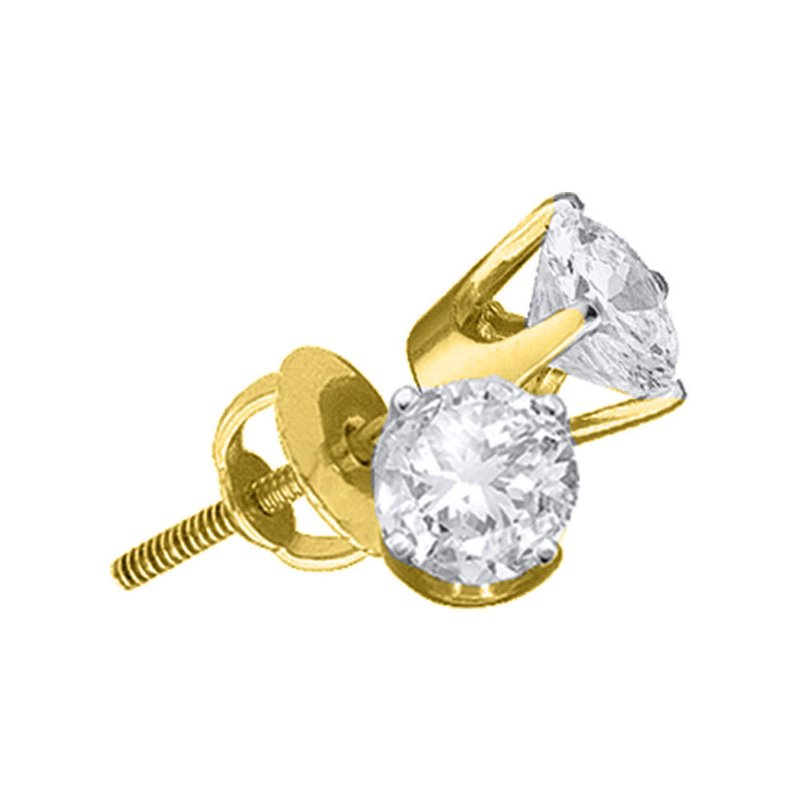 Kingdom Treasures 14kt Yellow Gold Unisex Round Diamond Solitaire Stud Earrings 7/8 Cttw