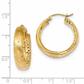 14k Polished Satin and Diamond-cut In/Out Hoop Earrings