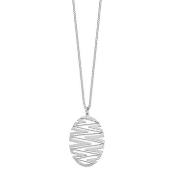Sterling Silver Rhodium-plated Satin D/C Necklace