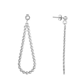 Silver Polished Disc Pear Earring