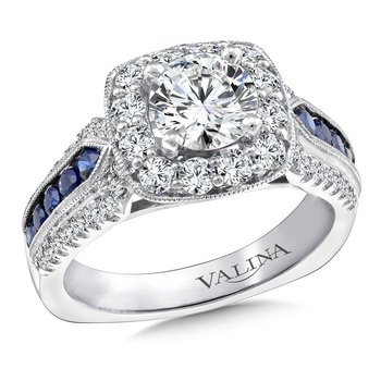 Diamond and Blue Sapphire Halo Engagement Ring Mounting in 14K White Gold (.75 ct. tw.)
