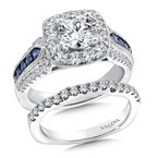 Valina Diamond and Blue Sapphire Halo Engagement Ring Mounting in 14K White Gold (.75 ct. tw.)
