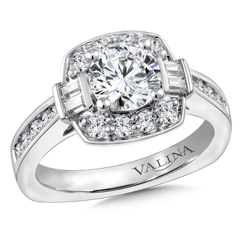Halo Engagement Ring Mounting in 14K White Gold (.69 ct. tw.)