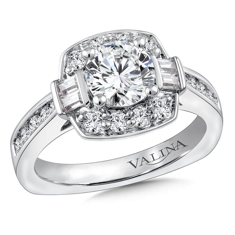 Valina Halo Engagement Ring Mounting in 14K White Gold (.69 ct. tw.)