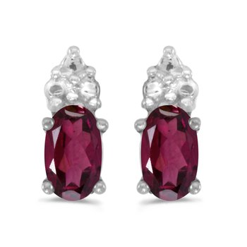 10k White Gold Oval Rhodolite Garnet Earrings