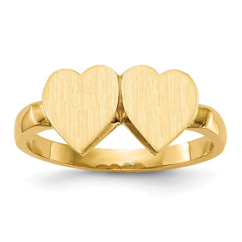Quality Gold 14k 7.5x7.5mm Open Back Heart Signet Ring