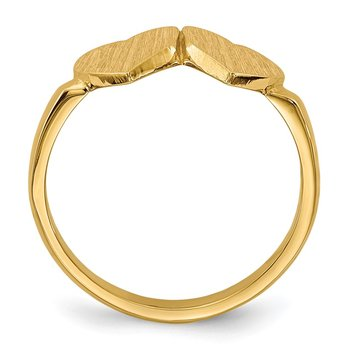 14k 7.5x7.5mm Open Back Heart Signet Ring