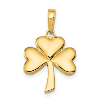 14k Polished Solid Shamrock Pendant