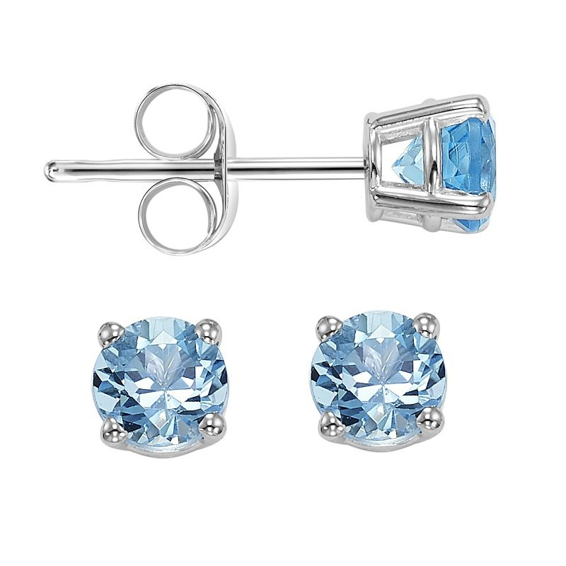 Gemsone 14K Blue Topaz Studs 4 mm Rd