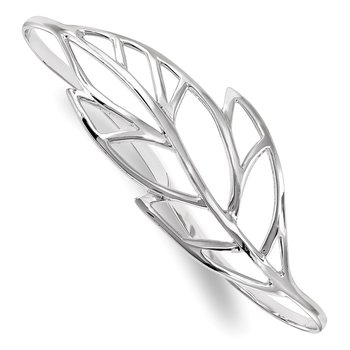 Sterling Silver Rhodium-plated Polished Leaf Palm Bangle