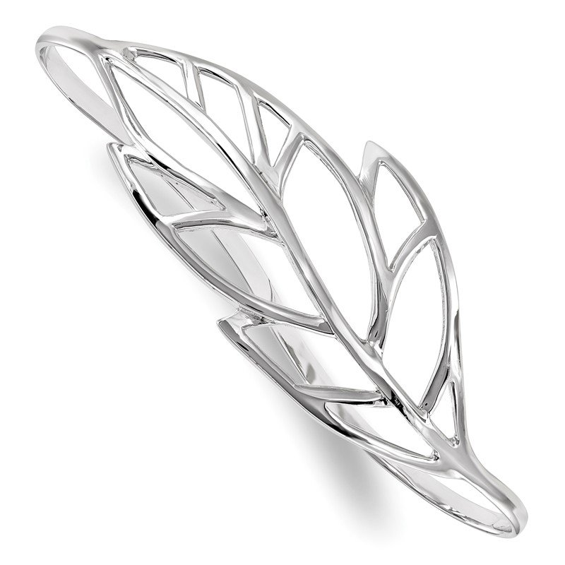 Quality Gold Sterling Silver Rhodium-plated Polished Leaf Palm Bangle