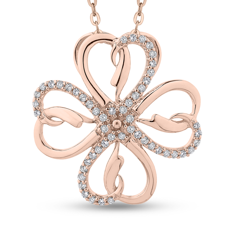 Essentials 10K Rose Gold 1/5 Ct Diamond Fashion Pendant with Chain