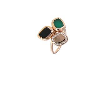 18Kt Gold Ring With Black Jade, Diamonds And Green Agate
