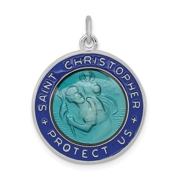 Sterling Silver Rhodium-plated Enameled St. Christopher Medal