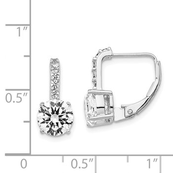 Cheryl M Sterling Silver Rhodium-plated CZ Leverback Earrings