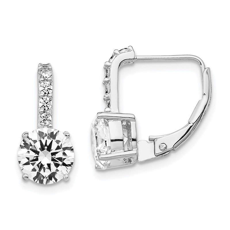 Cheryl M Cheryl M Sterling Silver Rhodium-plated CZ Leverback Earrings