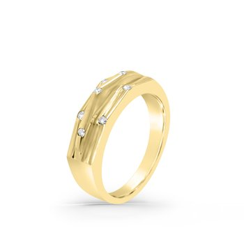 14K Yellow Gold Diamond Retro Fashion Band