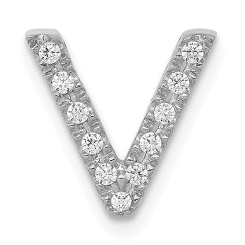 14K White Gold Diamond Letter V Initial Charm