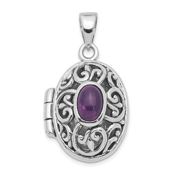 Sterling Silver Rhodium-plated Amethyst Locket