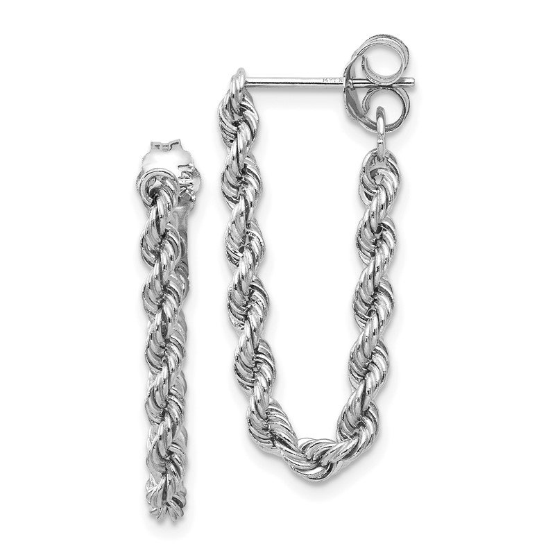 Quality Gold 14K White Gold Rope Chain Dangle Post Earring