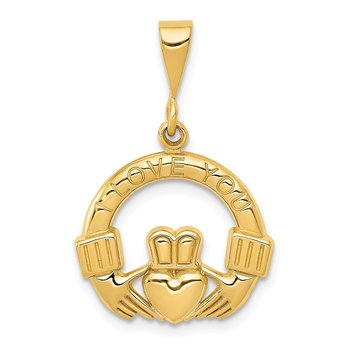 14k I Love You Claddagh Pendant