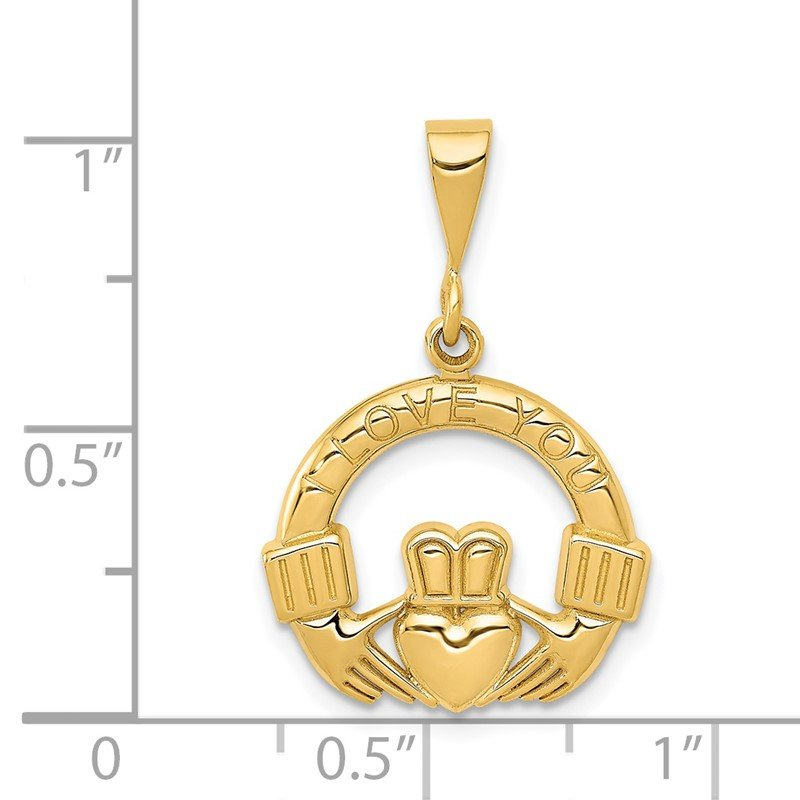 Quality Gold 14k I Love You Claddagh Pendant