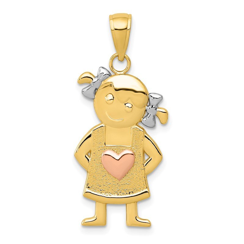 Quality Gold 14k Yellow and Rose Gold w/Rhodium Girl Pendant