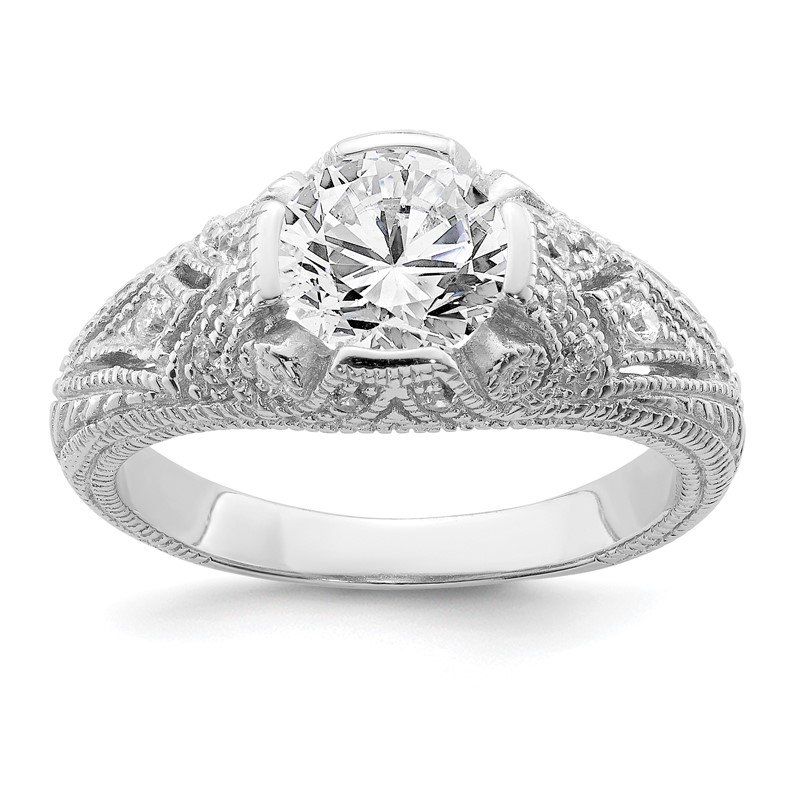Quality Gold Sterling Silver Rhodium-plated CZ Antique Style Ring
