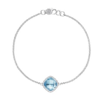 Solitaire Cushion Gem Bracelet with Sky Blue Topaz
