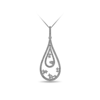 14K WG and diamond insite double Drop pendant in prong setting