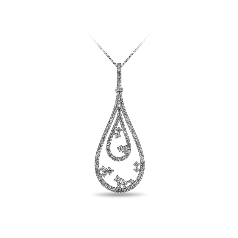 BB Impex 14K WG and diamond insite double Drop pendant in prong setting