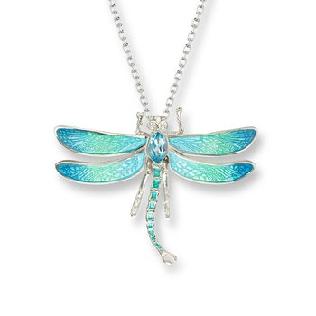 Blue Dragonfly Necklace.Sterling Silver-White Sapphire and Blue Topaz