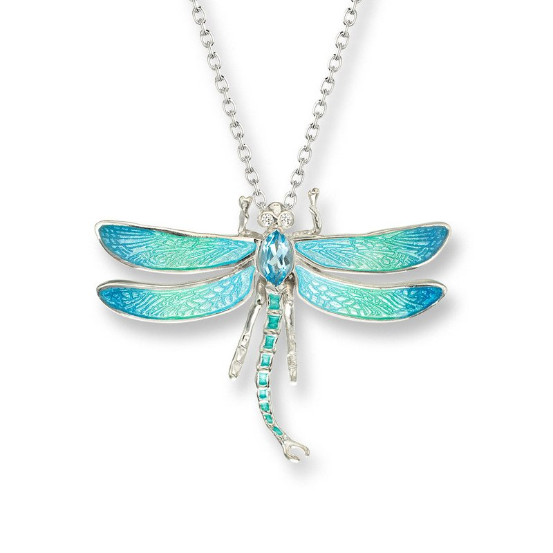 Nicole Barr Designs Blue Dragonfly Necklace.Sterling Silver-White Sapphire and Blue Topaz