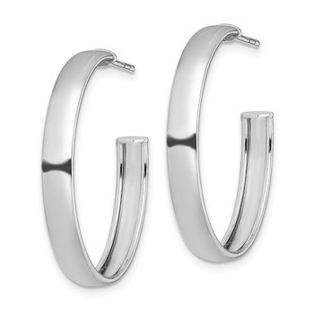 Sterling Silver Rhodium-plated Polished 3.8mm Post Hoops