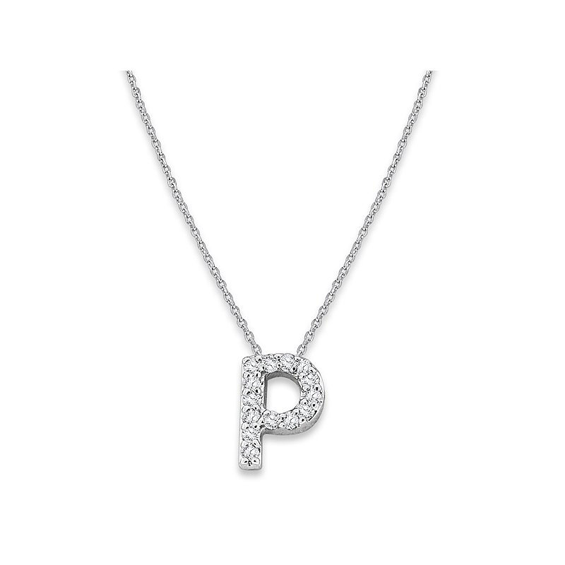 "KC Designs Diamond Baby Typewriter Initial ""P"" Necklace in 14k White Gold with 14 Diamonds weighing .08ct tw"