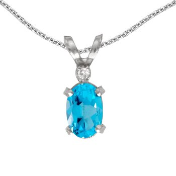14k White Gold Oval Blue Topaz And Diamond Filagree Pendant