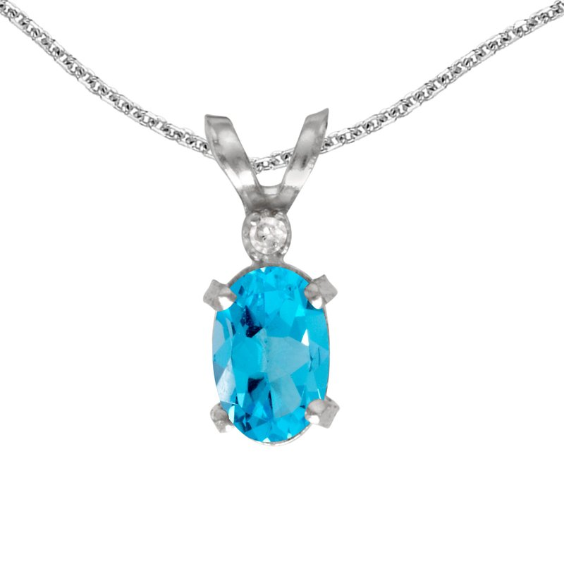 Color Merchants 14k White Gold Oval Blue Topaz And Diamond Filagree Pendant