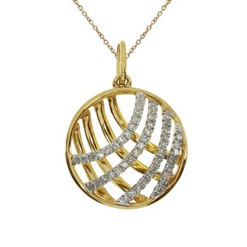 14k Yellow Gold Fashion Diamond Disc Pendant