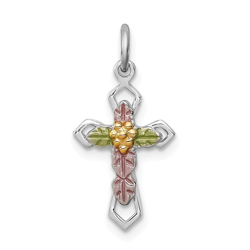 Quality Gold Sterling Silver Rhodium-plated Polished Epoxy & Gold-plated Cross Pendant