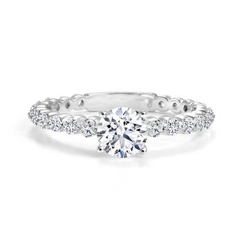 Modern Engagement Ring with  Accent Diamonds Set in a Unique Shared Prong Setting