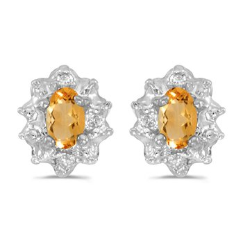 10k White Gold 5x3 mm Genuine Citrine And Diamond Earrings