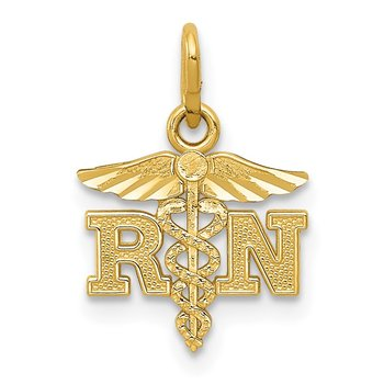 14k Diamond-cut Polished RN Nurse Pendant