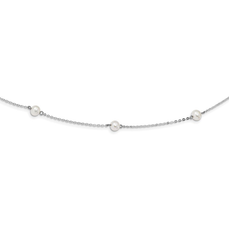 Sterling Silver Rh-plated (5-6mm) Fresh Water Cultured Pearl Necklace