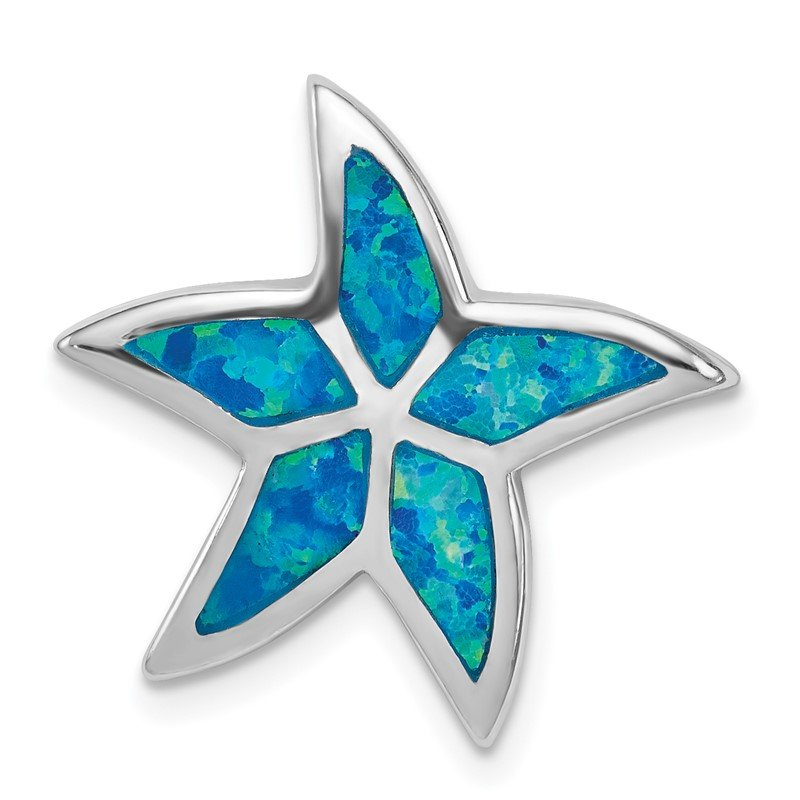Sterling Silver Rhodium Created Blue Opal Starfish Slide