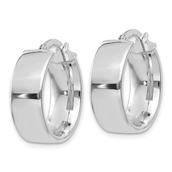 14k 6.75mm White Gold Hoop Earrings