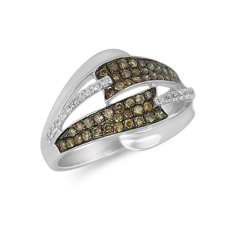 BB Impex 14K WG White & Champagne Dia Fashion Ring
