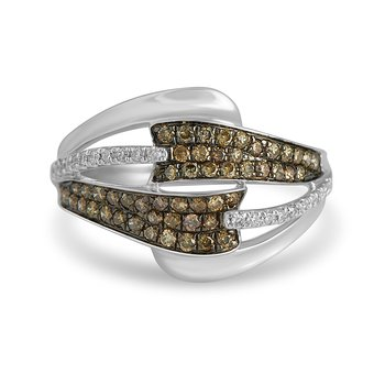 14K WG White & Champagne Dia Fashion Ring