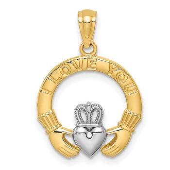 14K White Rhodium I LOVE YOU Claddaugh Pendant