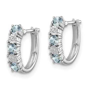 Sterling Silver Rhodium-plated Aquamarine & Diamond Earrings