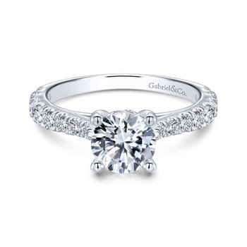 14k White Gold Diamond Pave Straight Engagement Ring with Four Prong Setting